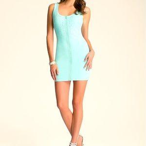 Bebe mint green embellished zipper front dress xs